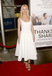 Gwyneth Paltrow looked impeccable at the 'Thanks for Sharing' premiere in a white fit-and-flare cocktail dress.