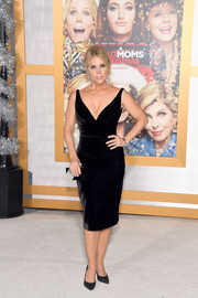 Cheryl Hines was sultry and elegant in a form-fitting, deep-V LBD by Romona Keveza at the premiere of 'A Bad Moms Christmas.'