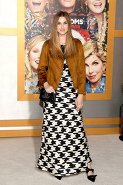 Whitney Port styled her dress with a camel-colored sueded-knit moto jacket by Old Navy.