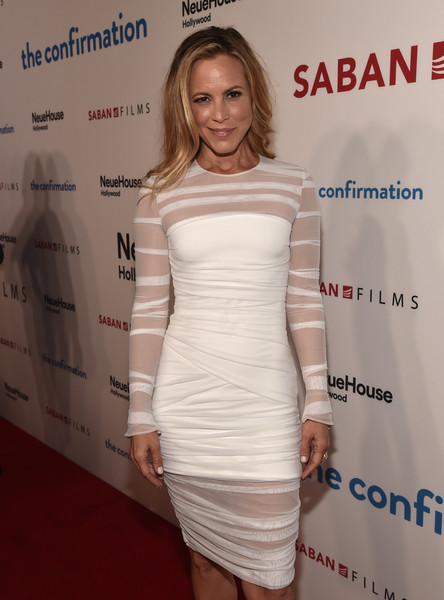 More Pics of Maria Bello Long Side Part (1 of 21) - Maria Bello Lookbook - StyleBistro [the confirmation,of saban films,cocktail dress,dress,clothing,shoulder,joint,fashion,hairstyle,fashion model,premiere,carpet,red carpet,maria bello,california,los angeles,premiere,premiere]