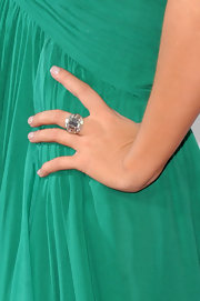 Christina Aguilera showed off her decadent diamond ring while attending the premiere of 'Burlesque'. This ring really popped against her kelly green dress.