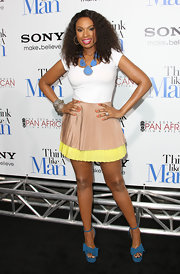 Jennifer Hudson looked youthful in this pleated two-tone mini at the premiere of 'Think Like a Man.'