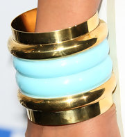 La La Anthony accessorized with layers of blue and gold bangles at the premiere of 'Think Like a Man.'