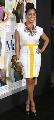 La La Anthony finished off her outfit with a pair of stylish black ankle-strap peep-toes.