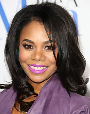 Regina Hall wore a bright violet lipstick at the premiere of 'Think Like a Man.'