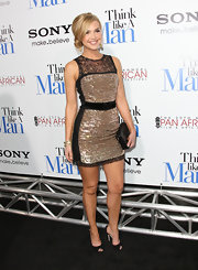Arielle topped off her sparkling frock with black peep-toe pumps.