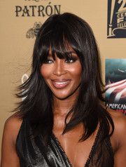 Naomi Campbell looked fab with her flippy layers and eye-grazing bangs at the premiere of 'American Horror Story: Hotel.'