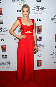 Georgia King was on fire at the 'American Horror Story' premiere in this red hot cutout gown.