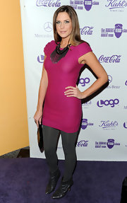 Erin got dolled up in a hot pink cocktail dress with gray opaque tights for the premiere of 'The Robert Verdi Show.'