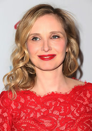 Julie Delpy's ruby red lips matcher her dress and gave her a Hollywood glam look.