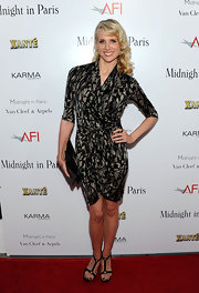 Lucy donned a wrap black and taupe abstract print dress for the 'Midnight in Paris' premiere.