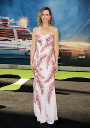 Kristen Wiig was summer-glam in a tropical-motif strapless gown by Jenny Packham at the premiere of 'Ghostbusters.'