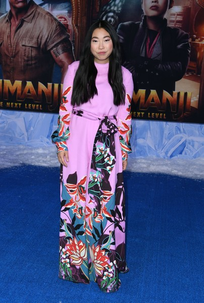 Awkwafina was a vision in a graphic-print, wide-leg jumpsuit by Valentino at the premiere of 'Jumanji: The Next Level.'