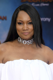 Garcelle Beauvais sported a straight, side-parted hairstyle at the premiere of 'Spider-Man: Far From Home.'