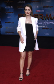 Kaitlyn Dever paired an oversized white blazer with a little black dress, both by Philosophy di Lorenzo Serafini, for the premiere of 'Spider-Man: Far From Home.'