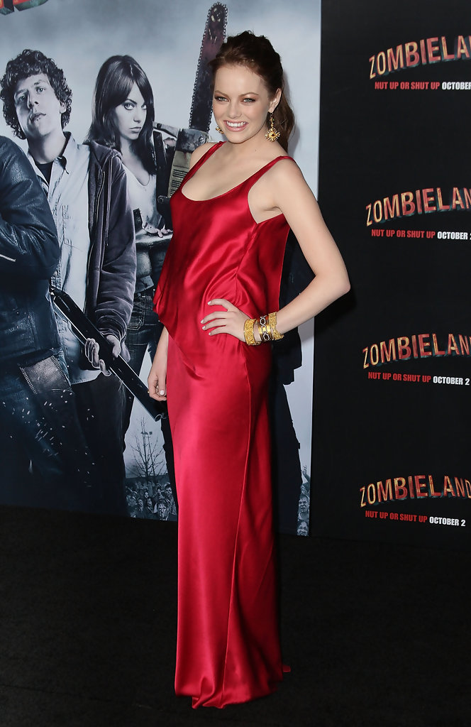 "Actress Emma Stone  arrives at the Los Angeles premiere of Sony Pictures&squot; ""Zombieland"" on September 23, 2009 in Los Angeles, California."
