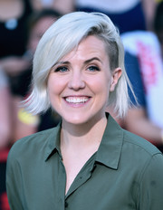 Hannah Hart rocked a platinum-blonde 'do with choppy ends and an undercut at the premiere of 'Sausage Party.'