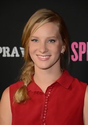 Heather Morris opted for a messy side braid for her red carpet look at 'Spring Breakers.'