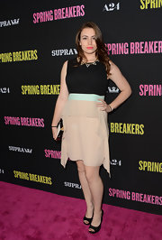 Sophie Simmons chose a nude and black color-blocked frock for her red carpet look at 'Spring Breakers.'