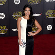 In A Black And White Gown At The 'Star Wars: The Force Awakens' Premiere