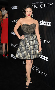 Katrina Law wore this uniquely textured dress with a tartan skirt to the 'Magic City' premiere.