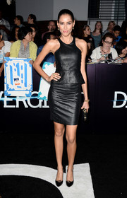 Rebecca Da Costa was equal parts classic and edgy at the 'Divergent' premiere in a leather LBD with peplum detail.