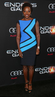 Viola Davis brightened up the 'Ender's Game' black carpet in a stylish tricolor sheath.