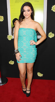 Fivel Stewart showed her silhouette in a strapless mini dress at the premiere of 'The Perks of Being a Wallflower.'