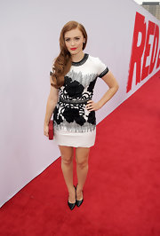 Holland stunned in a black-and-white embroidered dress at the premiere of 'Red 2.'