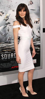 Michelle looked foxy in a white off-the-shoulder cocktail dress at the LA premiere of 'Source Code.'