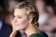 Maggie stiled her hair in a unique twisted updo for the LA premiere of 'Breaking Dawn - Part 2.'