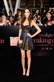 Kelsey Chow donned a sweet brocade cocktail dress at the 'Twilight' premiere. She paired her look with patent leather black platform pumps complete with gold studded detailing.