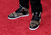 Adam wore an amazing pair up embellished sneakers to the premiere of 'Step Up 3D'.