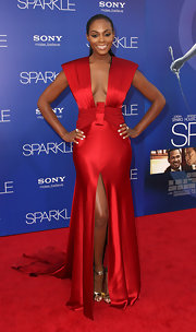 Tika Sumpter looked futuristic in this angular gown at the 'Sparkle' premiere.