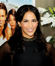 Paula Patton styled her hair in a half up half down hairstyle at the premiere of 'Jumping The Broom.'