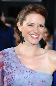 Sarah Drew wore a pair of black leaf earrings at the premiere of 'Glee The 3D Concert Movie.'