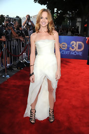 Jayma Mays stepped out at the 'Glee' movie concert premiere in an ivory chiffon evening dress. A dramatic fishtail hem and stand-out gladiator heels gave this look a healthy dose of drama.