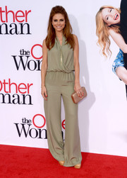 Maria Menounos looked snazzy at the LA premiere of 'The Other Woman' in a taupe jumpsuit with a wrap bodice and flared pants.