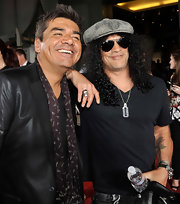 Slash accessorized with a sterling razor blade pendant necklace at the premiere of 'All About Steve.'