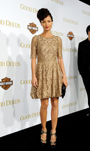 Thandie Newton wore this lovely gold lace cocktail dress for the 'Good Deeds' premiere.