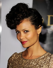Thandie Newton attended the premiere of 'Good Deeds' wearing her tight curls in a retro-inspired updo.