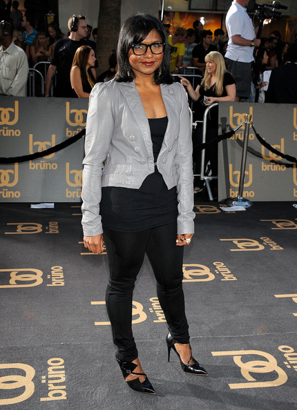 More Pics of Mindy Kaling Leather Jacket (1 of 1) - Outerwear Lookbook - StyleBistro [suit,clothing,eyewear,street fashion,fashion,outerwear,footwear,pantsuit,formal wear,shoulder,arrivals,mindy kaling,bruno,grauman,california,los angeles,chinese theatre,universal,premiere,premiere]