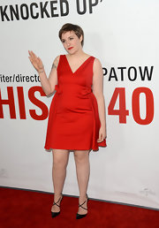 Lena went for a bold red look at the 'This is 40' premiere wearing this bowed V-neck dress.