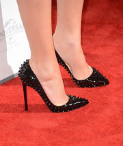 Megan Fox added some edge to ensemble with Christian Louboutin's spiked pumps.