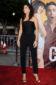 Sandra Bullock opted for a gold chain link bracelet to complete her all-black Lanvin ensemble.