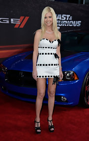 Tara Reid's white sweetheart mini dress featured black bow weaved ribbons.