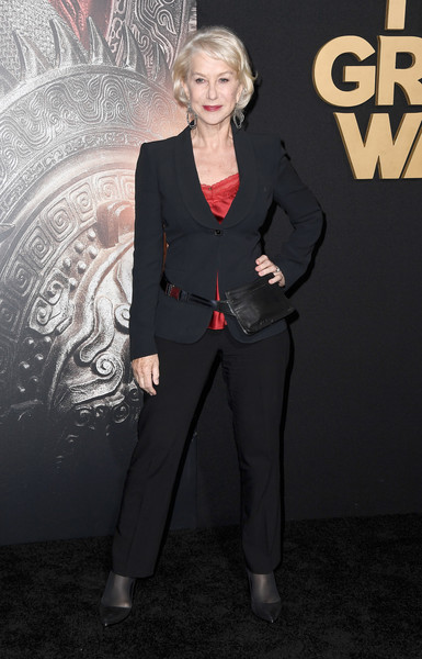 More Pics of Helen Mirren Slacks (1 of 9) - Pants & Shorts Lookbook - StyleBistro [clothing,suit,pantsuit,formal wear,premiere,tuxedo,style,carpet,arrivals,helen mirren,the great wall,california,hollywood,universal pictures,tcl chinese theatre imax,premiere,premiere]