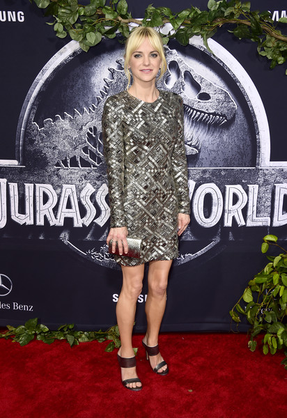 Anna Faris complemented her dress with a metallic silver clutch.