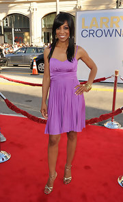 Shaun Robinson paired her girly lavender cocktail dress with a pair of strappy silver sandals with leopard print lining at the premiere of 'Larry Crowne.'