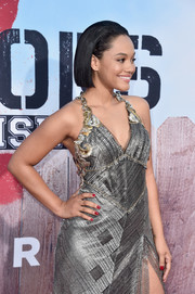 Kiersey Clemons paired a red mani with a silver halter dress for the premiere of 'Neighbors 2: Sorority Rising.'